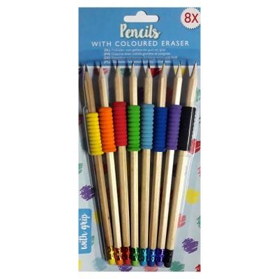 8 crayons avec gommes et poignées