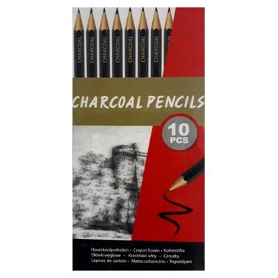 10 crayons fusain boite métal