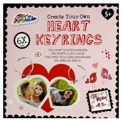 6 portes clés personnalisables en forme de cœur