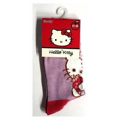 Taille 27-30 - Chaussettes Hello Kitty Mauve et rouge