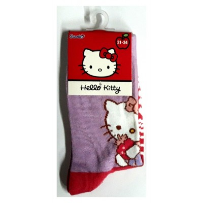 Taille 31-34 - Chaussettes Hello Kitty Mauve et rouge