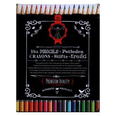 18 Crayons de couleur - boite métal