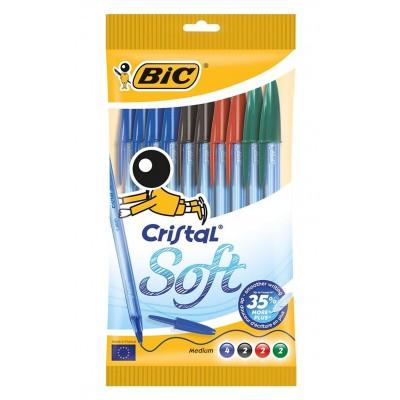 Bic Cristal Soft Stylo-bille non rétractable Couleurs Assortis Pochette de 10