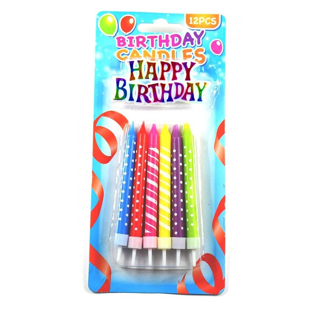 """12 bougies dans le paquet + 1 élément plastque """"Happy Birthday"""""""
